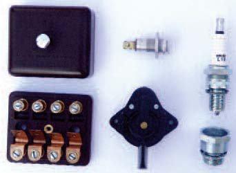 Elektro – přepínače, pojistkové skříňky, kontrolky, zapalovací svíčky